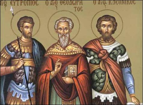 3 Mart Kutsal Şehitler Evtropiyus, Kleonikus ve Vasiliskus