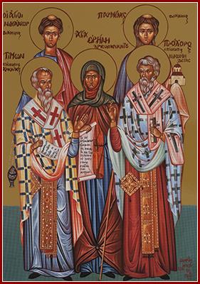 28 Temmuz Yetmişlerden Aziz Havari Diyakonlar, Prohorus, Nikanor, Timon ve Parmenas