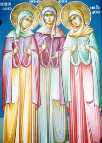 10 Eylül Nikomedia'dan Şehitler Minodora, Mitrodora, Nimfodora