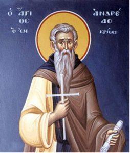 17 Ekim. Krisisli kutsal şehit-keşiş Andreas